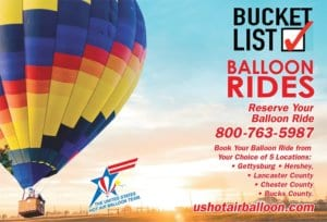 Multicolored balloon for riding in the sky with Bucket List in red letters