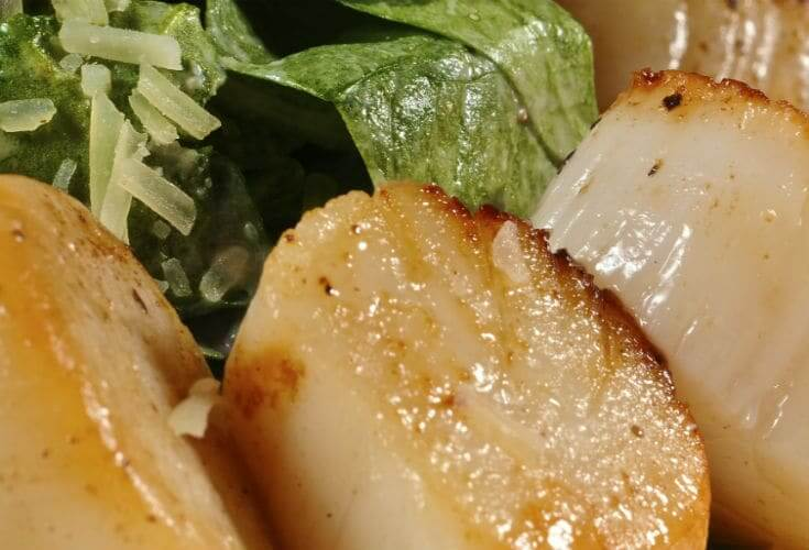 Buttered Scallops and Greens on plate served at the Coastal Grille Restaurant in Wyomissing, Berks County, PA