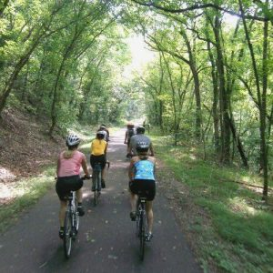 Biking on the Schuylkill River Greenway Trail in Pennsylvania's Americana Region.