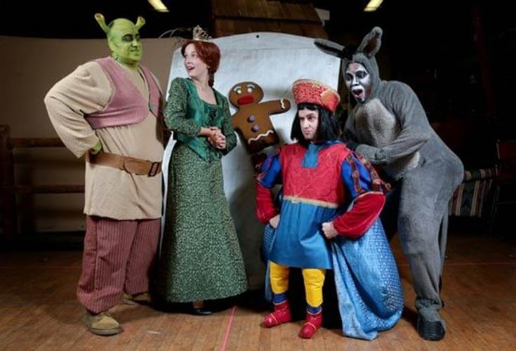 A musical of the hit movie Shrek. The cast includes Shrek the orgar, Fiona the princess, the gingerbread man, lord Farcourt, and donkey that took place in Reading, PA