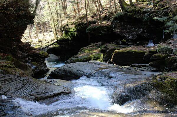 Stream flowing over rocks in Berks County, PA.