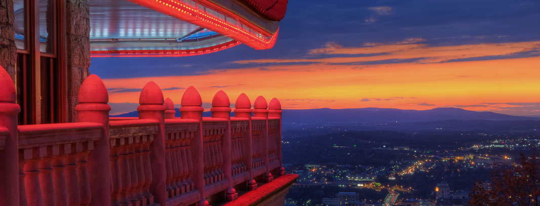 A view of Reading, Pennsylvania from the Pagoda, a tourist attraction that sits on top of Neversink Mountain