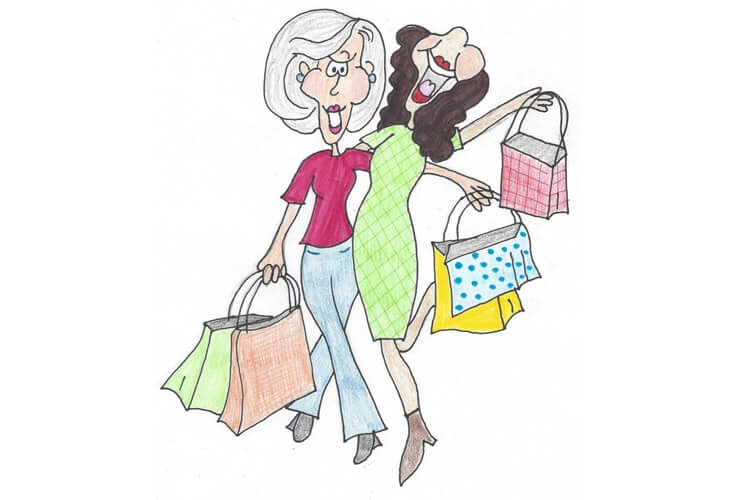 Cartoon Picture of two ladies shopping