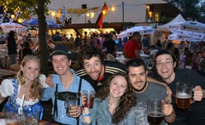 Young group enjoying Oktoberfest