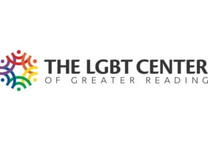 Logo for the LGBT Center of Greater Reading sports black words with a multi-colored symbol to the left of the words. The center is located in Reading, PA