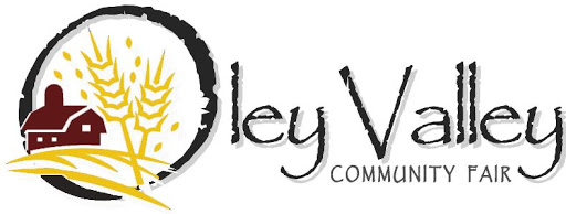 """A stylized barn and grain image sits in front of """"Oley Valley Community Fair"""" written in a rustic font."""