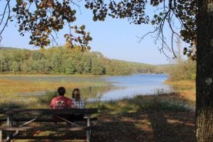 A happy couple sit on a bench looking out over a lake at Hopewell Big Woods.