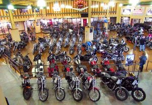 Indoor shot of Classic Harley Davidson in Reading, PA. Large group of Harley Davidson motorcycles displayed for sale.