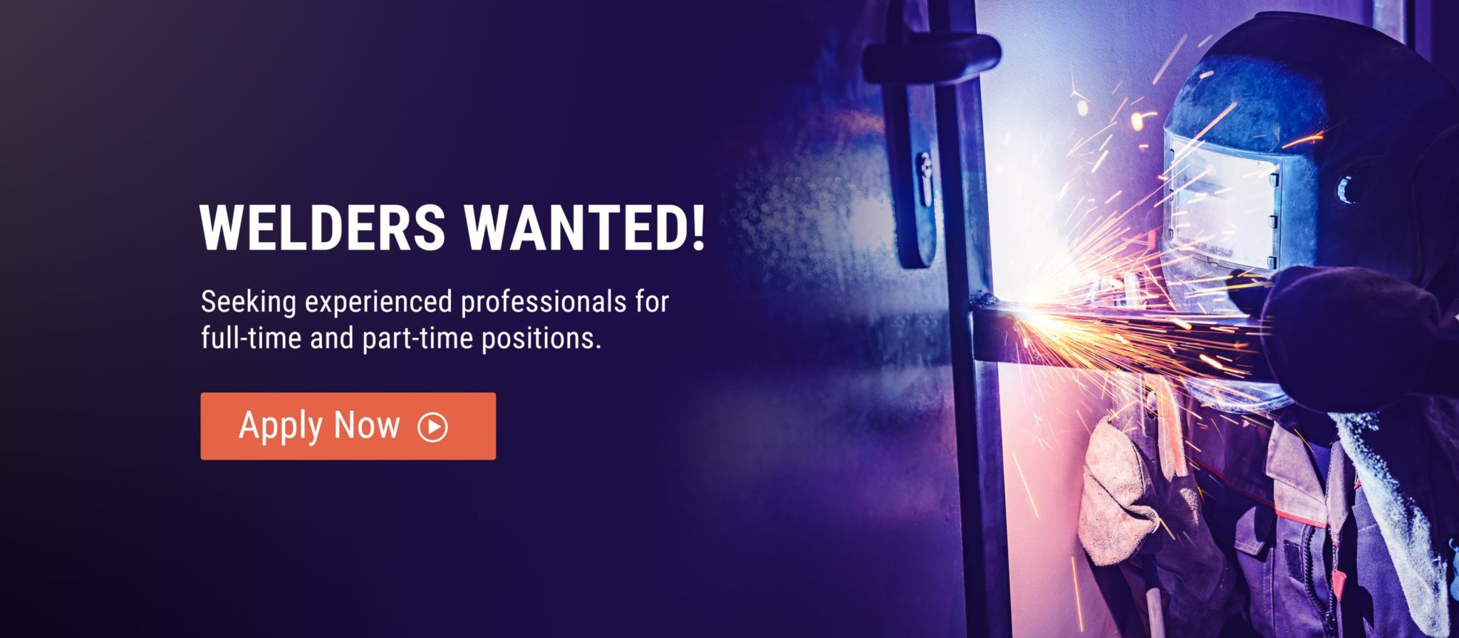 image of welder sparking with text advertising job openings