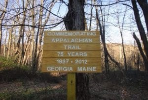 A wooden sign along the Appalachian Trail