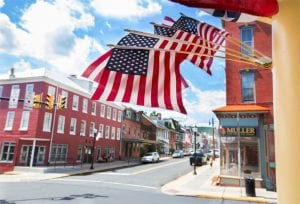 The main street in the quaint town of Hamburg, PA shows their patriotic spirit with American flags on buildings