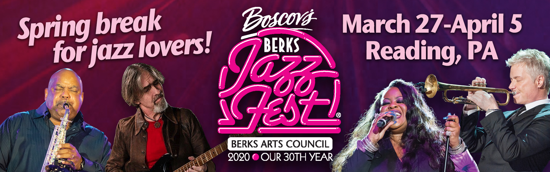 Advertisement for the Annual Berks Jazz Fest with date of March 27 to April 5 2020.
