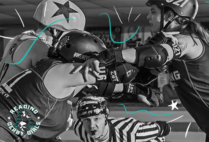 Three roller skating derby girls with pads and helmets make contact while a referee blows his whistle